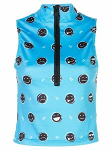 Natasha Zinko emoji print zip-up top - Blue
