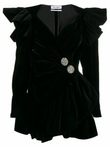 Attico velvet wrap mini dress - Black