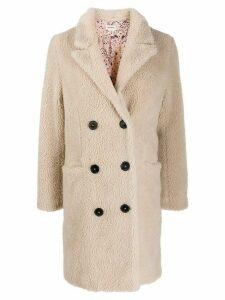 Zadig & Voltaire Mint fuzzy coat - NEUTRALS