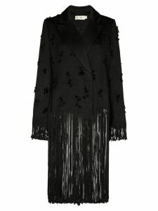 XU ZHI fringe trim double-breasted blazer - Black