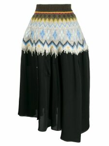 Loewe graphic print asymmetric skirt - Black