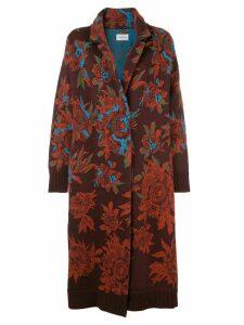 Salvatore Ferragamo jacquard floral cardigan coat - Purple