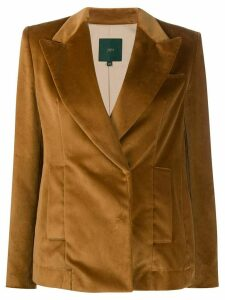 Jejia velvet single-breasted blazer - Brown