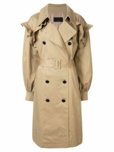 J Koo double-breasted trench coat - Brown