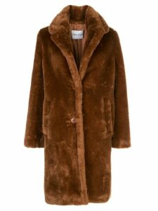 STAND STUDIO textured furry coat - Brown