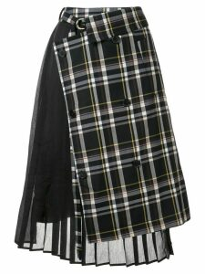 J Koo check pleated skirt - Grey