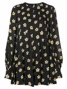 Oscar de la Renta floral-print swing mini-dress - Black