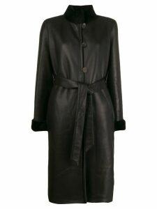 Liska shearling-trimmed belted coat - Black