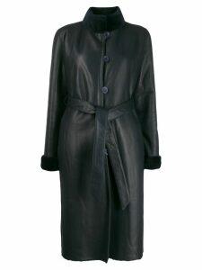 Liska shearling-trimmed belted coat - Blue