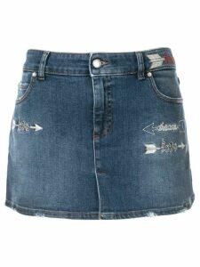 Red Valentino love embroidery denim skirt shorts - Blue