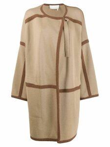 Chloé contrast trim cardi-coat - NEUTRALS