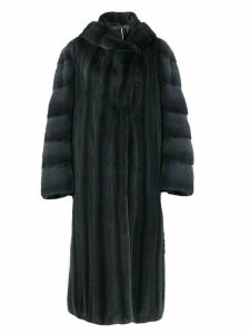 Liska hooded long-length coat - Blue
