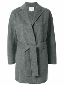Vince textured style belted coat - Grey