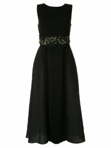 Onefifteen beads and lace embroidered midi dress - Black