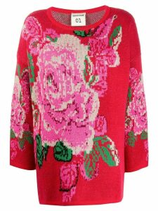 Semicouture boxy floral patterned sweater - Red