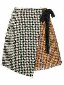 Alysi houndstooth wrap skirt - NEUTRALS