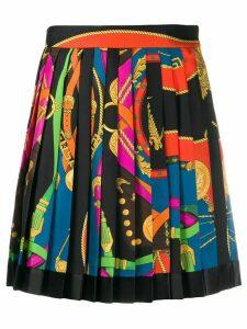 Versace belt print pleated skirt - Black