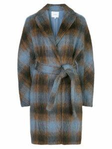 Vince belted check coat - Blue