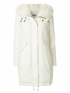 Yves Salomon fox fur parka - White
