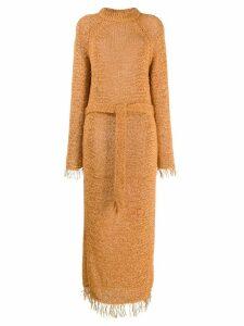 Nanushka loose knit fringe dress - ORANGE