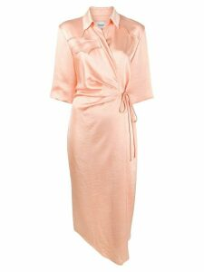 Nanushka Draped front shirt dress - PINK