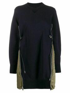 Sacai contrast side pocket sweatshirt dress - Blue