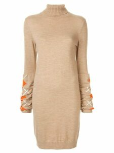 Onefifteen embroidered check roll neck dress - Brown