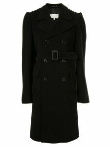 Maison Margiela double breasted belted coat - Black