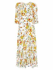 byTiMo floral pattern flared-hem dress - White
