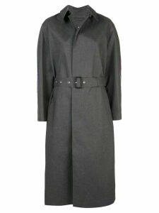 Maison Margiela rear printed belted coat - Grey