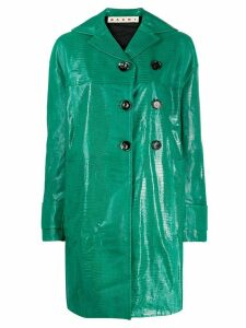 Marni embossed double-breasted coat - Green