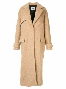 MSGM textured button up coat - Brown