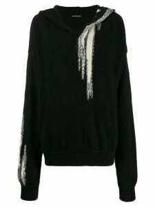 Ann Demeulemeester deconstructed hooded knit jumper - Black