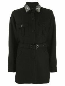 Pinko embellished collar coat - Black
