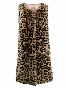 Yves Salomon Meteo textured leopard print coat - Brown