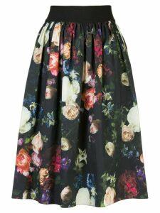 Adam Lippes floral print skirt - Black