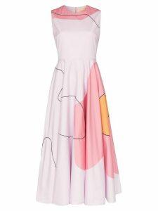 Roksanda abstract print sleeveless midi dress - PINK