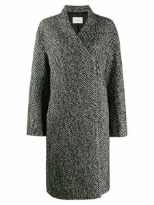 Dorothee Schumacher knitted striped double-breasted coat - Black