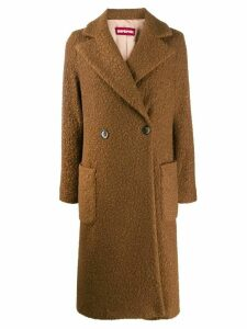 Guardaroba textured double-breasted coat - Brown