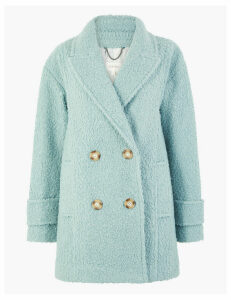 Per Una Boucle Double Breasted Peacoat
