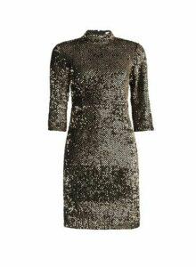Womens Petite Gold Sequin Shift Dress- Black, Black