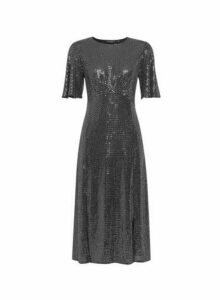 Womens Silver Sequin Angel Sleeve Midi Dress, Silver