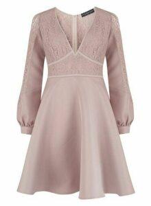 Womens **Little Mistress Mink Lace Prom Dress- Brown, Brown