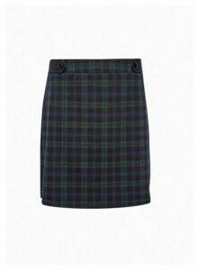 Womens Navy Check Print Mini Skirt, Navy