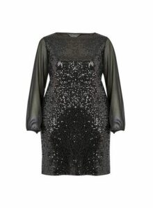 Womens **Billie & Blossom Curve Black Sequin Shift Dress, Black