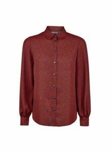 Womens Petite Red Pebble Print Shirt, Red