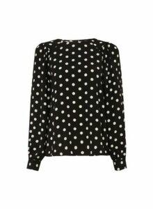 Womens Black Spot Balloon Sleeve Top, Black