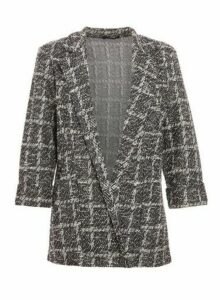 Womens *Quiz Black Check Print 3/4 Sleeve Blazer Jacket, Black