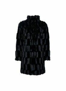 Womens Petite Black Textured Coat, Black