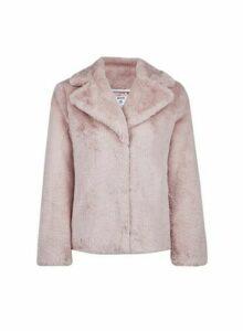 Womens Petite Pink Faux Fur Coat, Pink